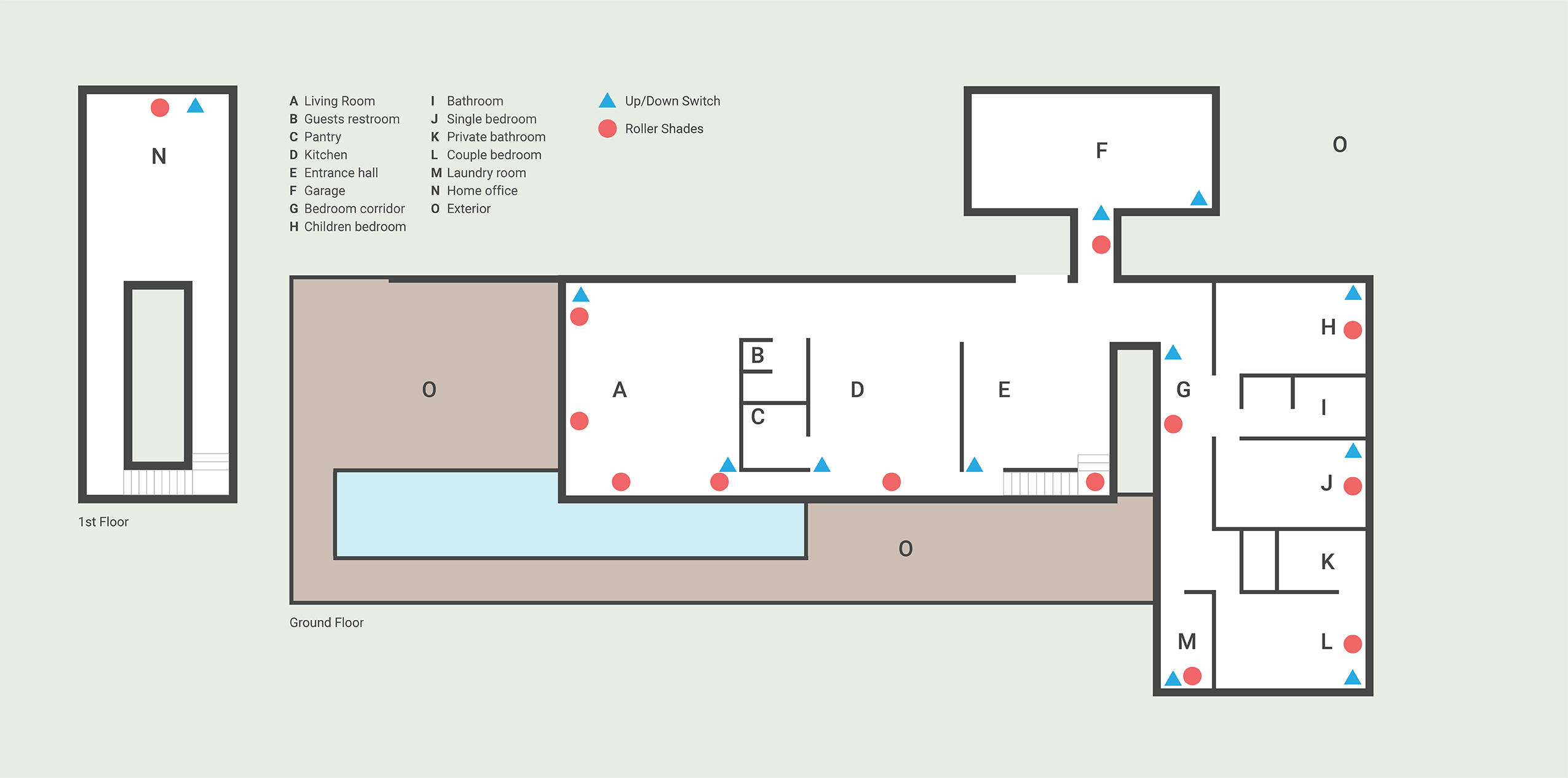Devices Map - HOME I/O on bed map, bedroom map, portico map, exterior map, basement map, newfoundland and labrador map, security map, cafeteria map, secret passage map, fallout shelter map,